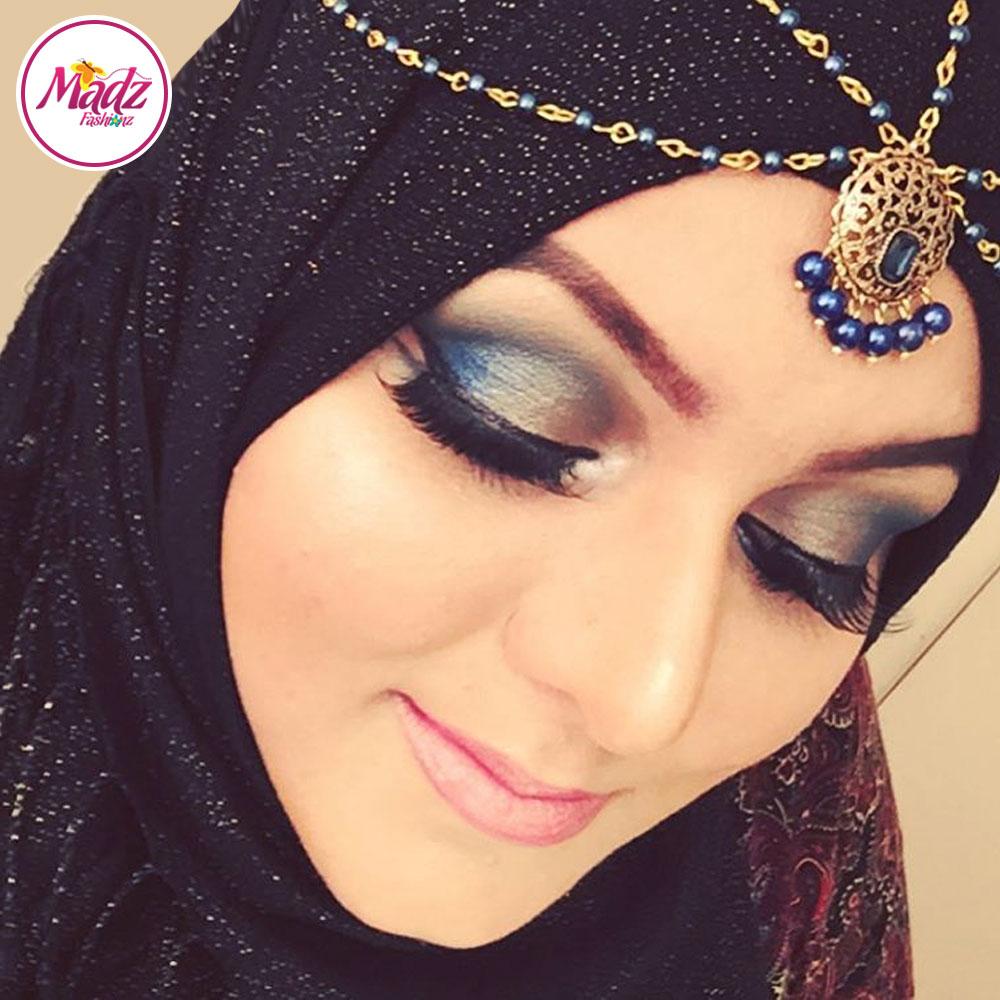 Madz Fashionz UK: Madiha Kundan Statement Pearl Drop Navy Blue HeadPiece