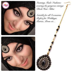 Madz Fashionz UK: Maang Tikka Matha Patti Head Piece Hair Chain Gold Black 2