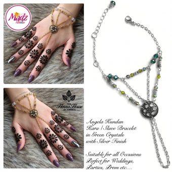 Madz Fashionz UK: Hennabyang Kundan Bridal Hand Chain, Bracelet Green Silver Crystals