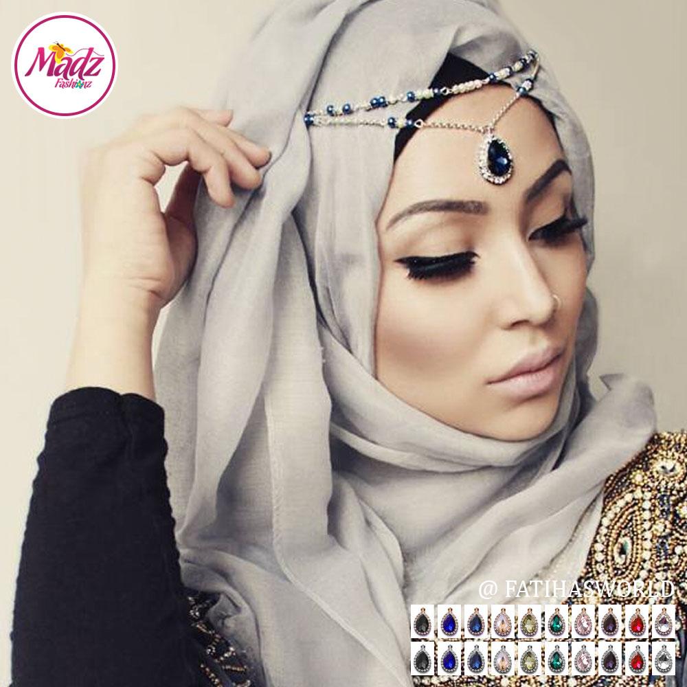 Madz Fashionz UK - Fatiha World Tear Drop Headpiece Gold Silver Finish