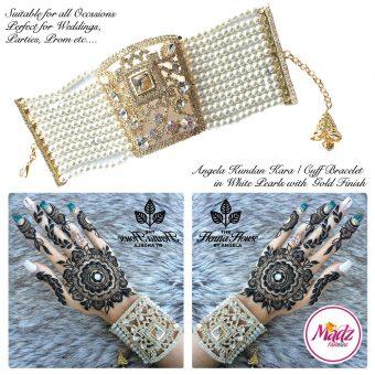 Madz Fashionz UK: Hennabyang Crystallised Cuff Bracelet Kara Gold White