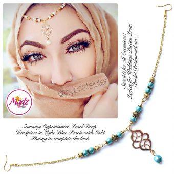 Madz Fashionz UK: Maryam Cypriotsister Pearl Drop Headpiece Gold Light Blue