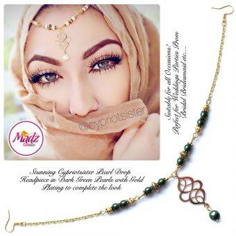 Madz Fashionz UK: Maryam Cypriotsister Pearl Drop Headpiece Gold Green