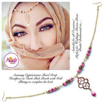 Madz Fashionz UK: Maryam Cypriotsister Pearl Drop Headpiece Gold Dark Pink
