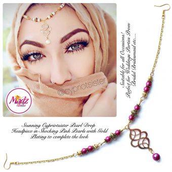 Madz Fashionz UK: Maryam Cypriotsister Pearl Drop Headpiece Gold Shocking Pink