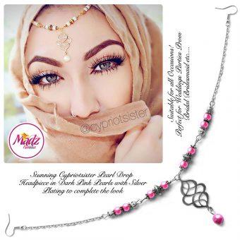 Madz Fashionz UK: Maryam Cypriotsister Pearl Drop Headpiece Silver Dark Pink
