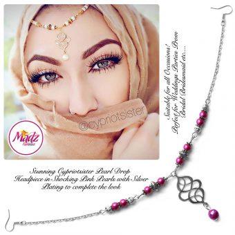 Madz Fashionz UK: Maryam Cypriotsister Pearl Drop Headpiece Silver Shocking Pink