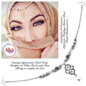 Madz Fashionz UK: Maryam Cypriotsister Pearl Drop Headpiece Silver White