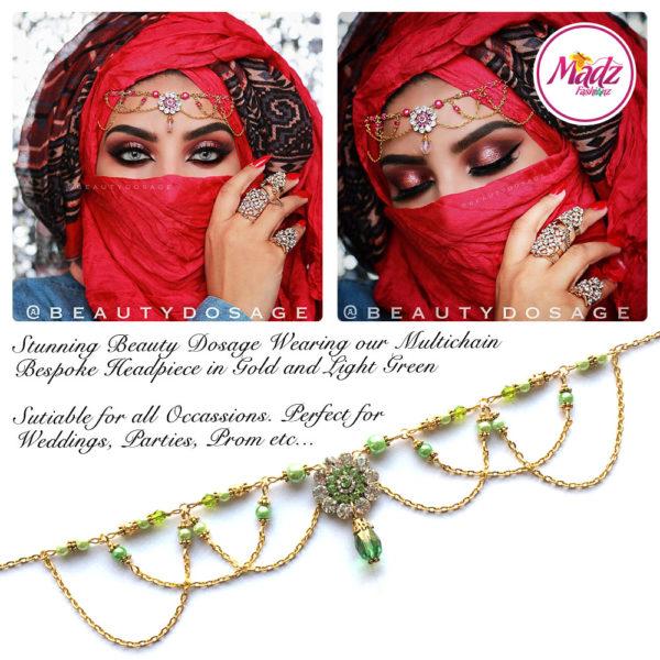 Madz Fashionz UK: Beautydosage Crystal Drop Titli Headpiece 2 Gold Light Green