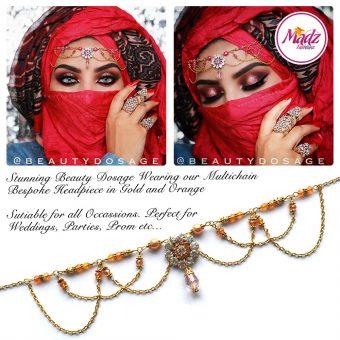Madz Fashionz UK: Beautydosage Crystal Drop Titli Headpiece 2 Gold Orange