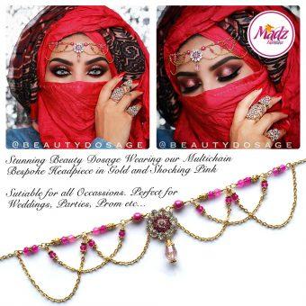 Madz Fashionz UK: Beautydosage Crystal Drop Titli Headpiece 2 Gold Shocking Pink