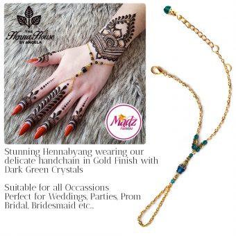 Madz Fashionz UK: Hennabyang Bespoke Crystal Slave Bracelet Handchain Delicate Gold Dark Green