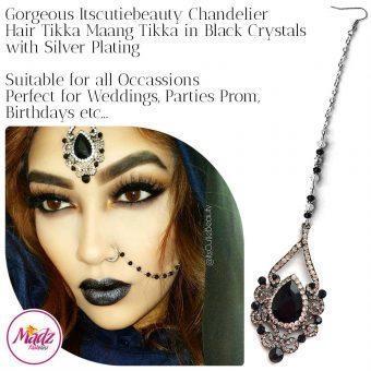 Madz Fashionz UK: ItsCutieBeauty Exquisite Nawab Bridal Maang Tikka Headpiece Silver Black