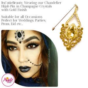 Madz Fashionz UK: ItsCutieBeauty Exquisite Nawab Bridal Hijab Pins, Hijab Jewels Gold Champagne