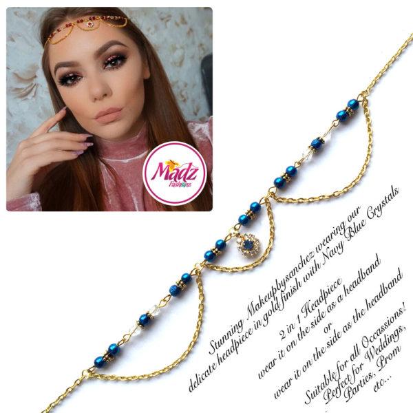 Madz Fashionz UK: Makeupbysanchez Bespoke Delicate Matha Patti Gold Navy Blue