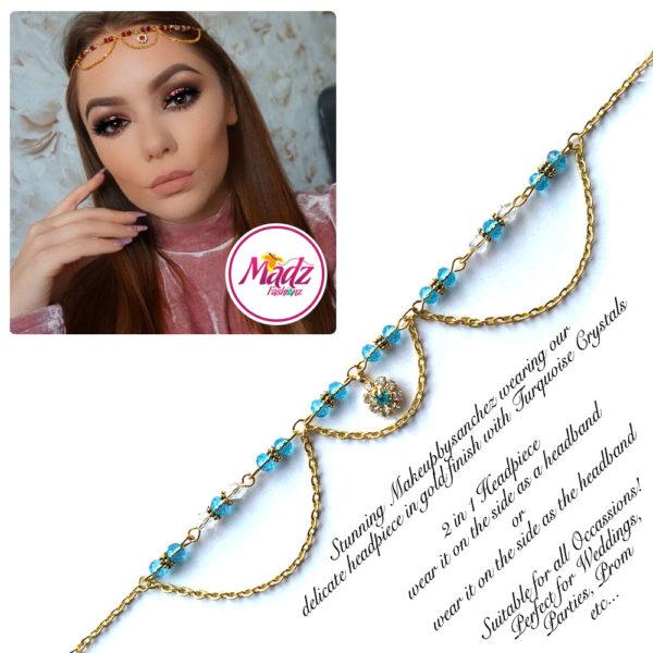 Madz Fashionz UK: Makeupbysanchez Bespoke Delicate Matha Patti Gold Sky Blue