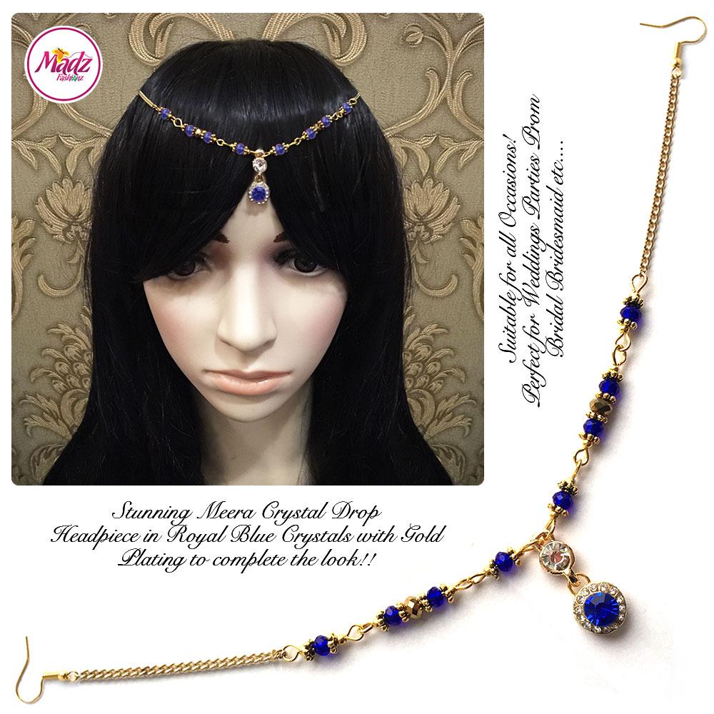 Madz Fashionz UK: Meera Crystal Matha Patti Headpiece Gold Royal Blue
