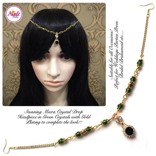 Madz Fashionz UK: Meera Crystal Matha Patti Headpiece Gold Green