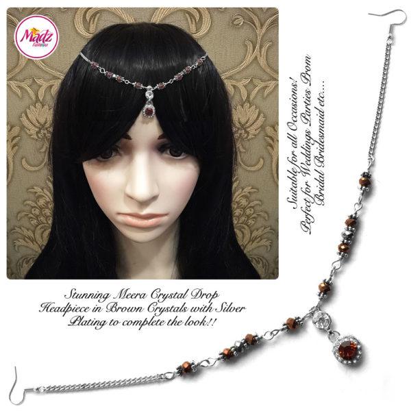 Madz Fashionz UK: Meera Crystal Matha Patti Headpiece Silver Brown