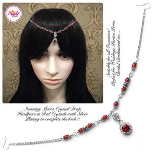 Madz Fashionz UK: Meera Crystal Matha Patti Headpiece Silver Red