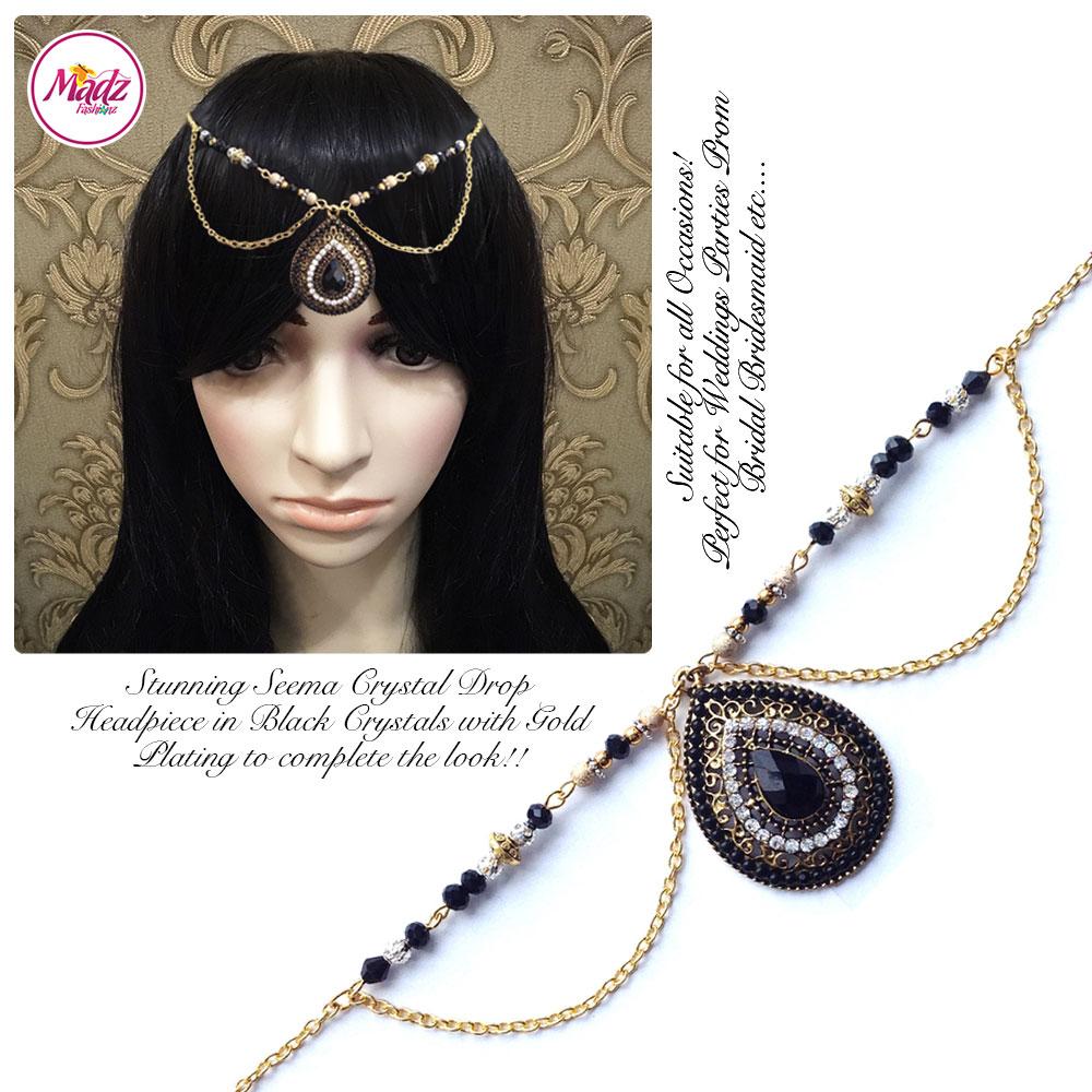 Madz Fashionz UK: Seema Crystal Matha Patti Headpiece Gold Black