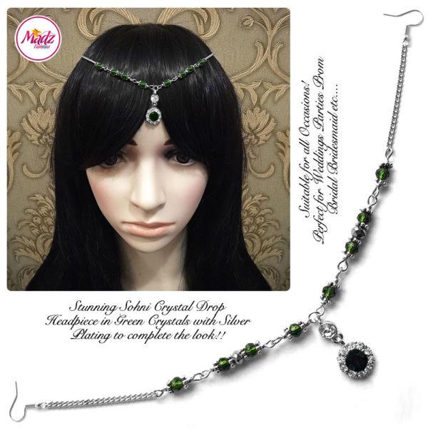Madz Fashionz UK: Sohni Crystal Matha Patti Headpiece Silver Green