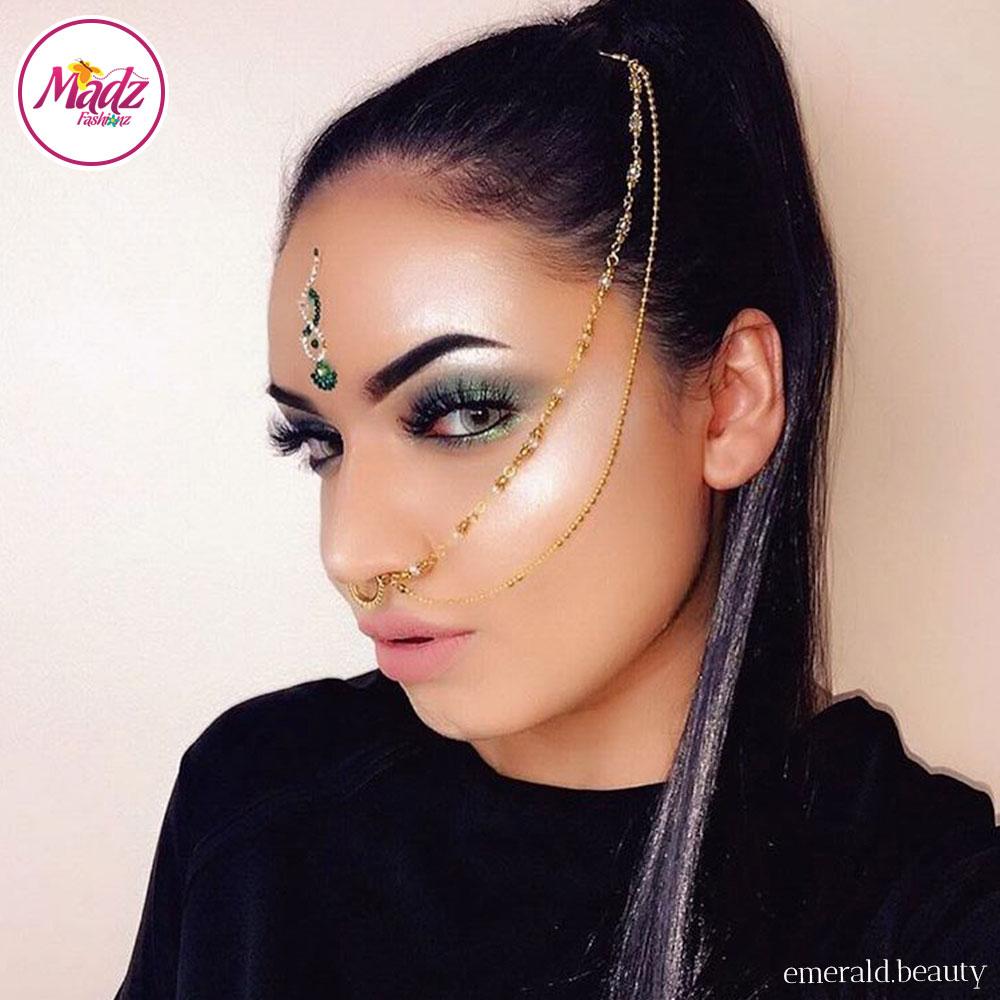 Madz Fashionz UK: Emeraldxbeauty Crystal Bridal Indian Nath Nose Ring Bollywood Indian