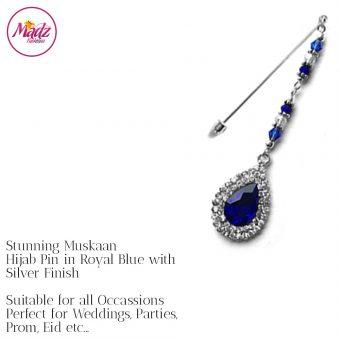 Madz Fashionz UK: Muskaan Chandelier Hijab Pin Stick Pin Hijab Jewels Hijab Pins Silver Royal Blue