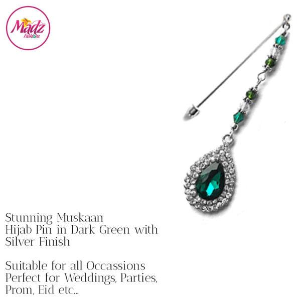 Madz Fashionz UK: Muskaan Chandelier Hijab Pin Stick Pin Hijab Jewels Hijab Pins Silver Dark Green
