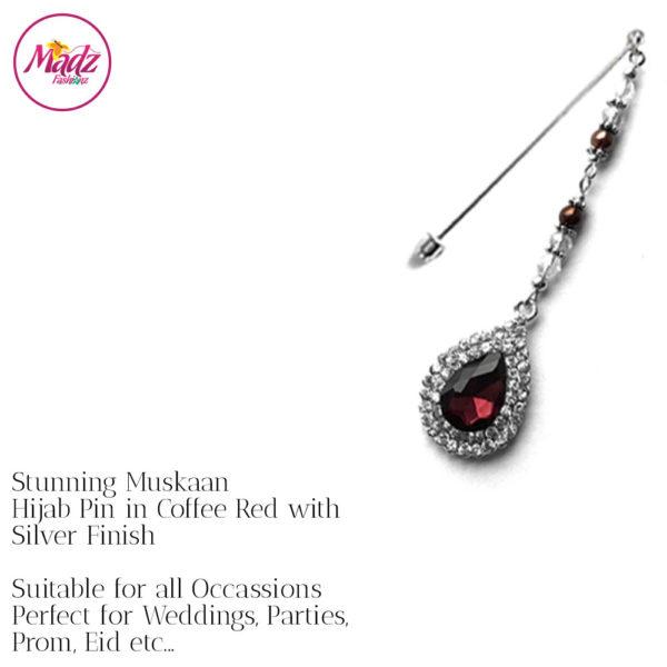 Madz Fashionz UK: Muskaan Chandelier Hijab Pin Stick Pin Hijab Jewels Hijab Pins Silver Coffee Red