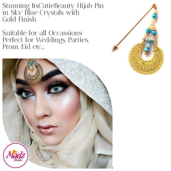 Madz Fashionz UK: ItsCutieBeauty Kundan Hijab Pin Stick Pin Hijab Jewels Hijab Pins Gold Sky Blue