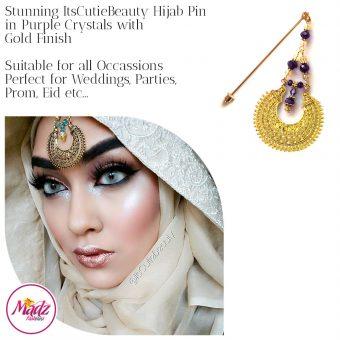 Madz Fashionz UK: ItsCutieBeauty Kundan Hijab Pin Stick Pin Hijab Jewels Hijab Pins Gold Purple