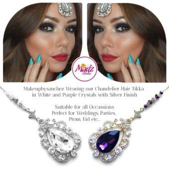 Madz Fashionz UK: Makebysanchez Delicate Crystal Maang Tikka Headpiece Gold Purple Silver White