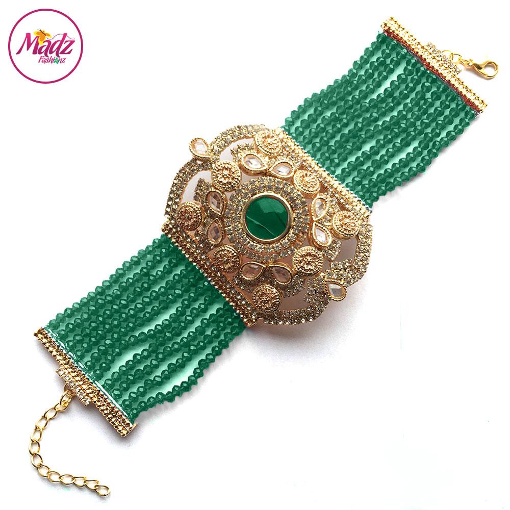 Madz Fashionz UK: Bridal Hennabyang Imperial Jhoda Cuff Bracelet Handpiece Angla Gold Dark Green