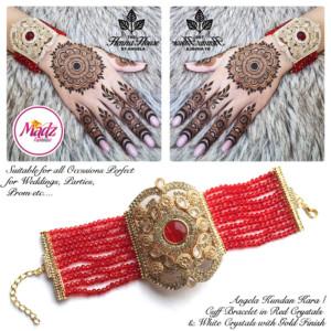 Madz Fashionz UK: Hennabyang Angela Bridal Hennabyang Imperial Jhoda Cuff Bracelet Handpiece Angla Gold Red