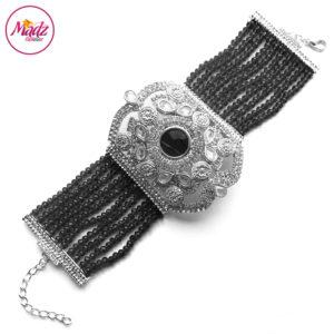 Madz Fashionz UK: Bridal Hennabyang Imperial Jhoda Cuff Bracelet Handpiece Angla silver Black