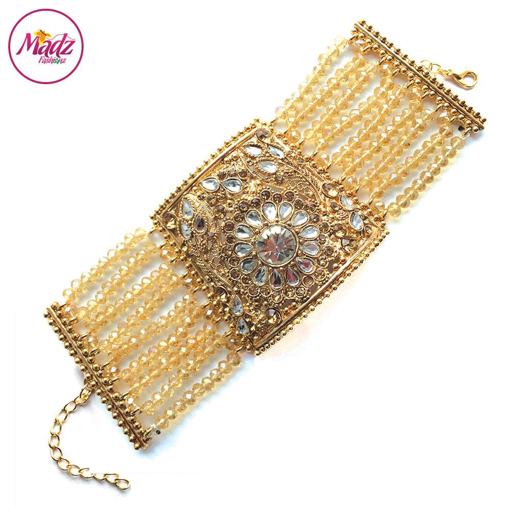 Madz Fashionz UK: Bridal Cuff Bracelet Handpiece Handchain Angla Gold Champagne