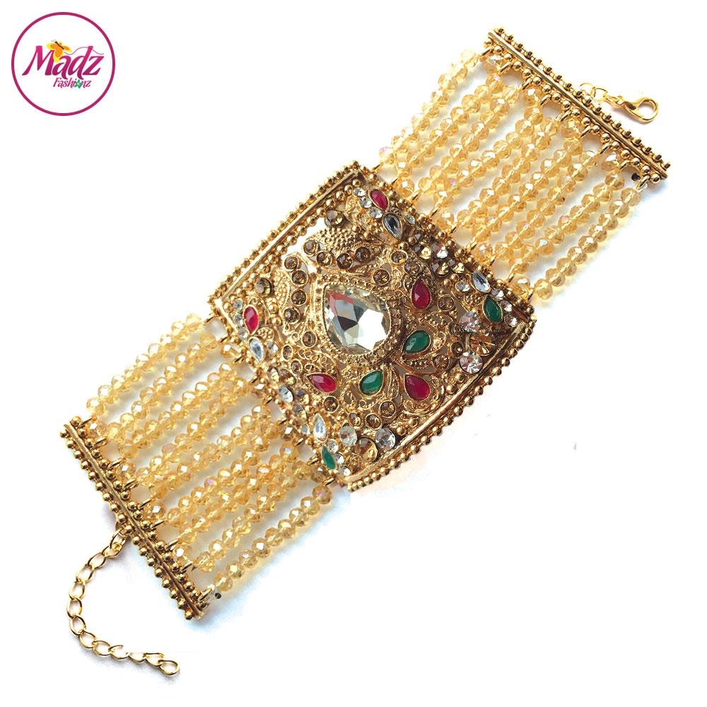 Madz Fashionz UK: Asian Bridal Cuff Bracelet Handpiece Handchain Angla Gold Red Green Champagne
