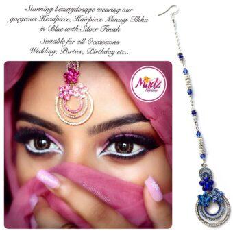 Madz Fashinz USA: Beautydosage Chandelier Maang Tikka Silver Royal Blue