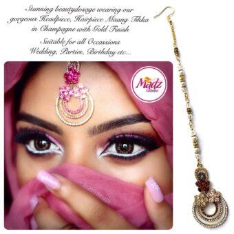 Madz Fashinz USA: Beautydosage Chandelier Maang Tikka Gold Champagne