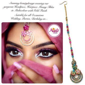 Madz Fashinz USA: Beautydosage Chandelier Maang Tikka Gold Multicolor