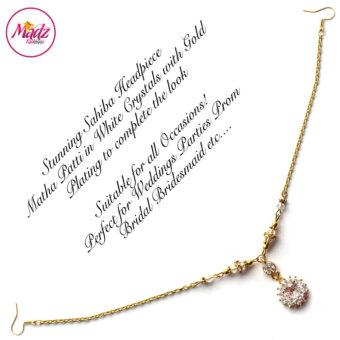 Madz Fashionz USA: Sahiba Crystal Headpiece Matha Patti Maang Tikka Gold White