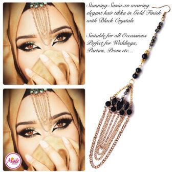 Madz Fashionz USA: Sania.XO Crystallised Maang Tikka Gold Black