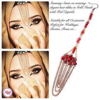Madz Fashionz USA: Sania.XO Crystallised Maang Tikka Gold Red