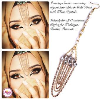 Madz Fashionz USA: Sania.XO Crystallised Maang Tikka Gold White
