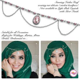 Madz Fashionz USA - Fatihasworld Tear Drop Matha Patti Headpiece Silver and Light Pink