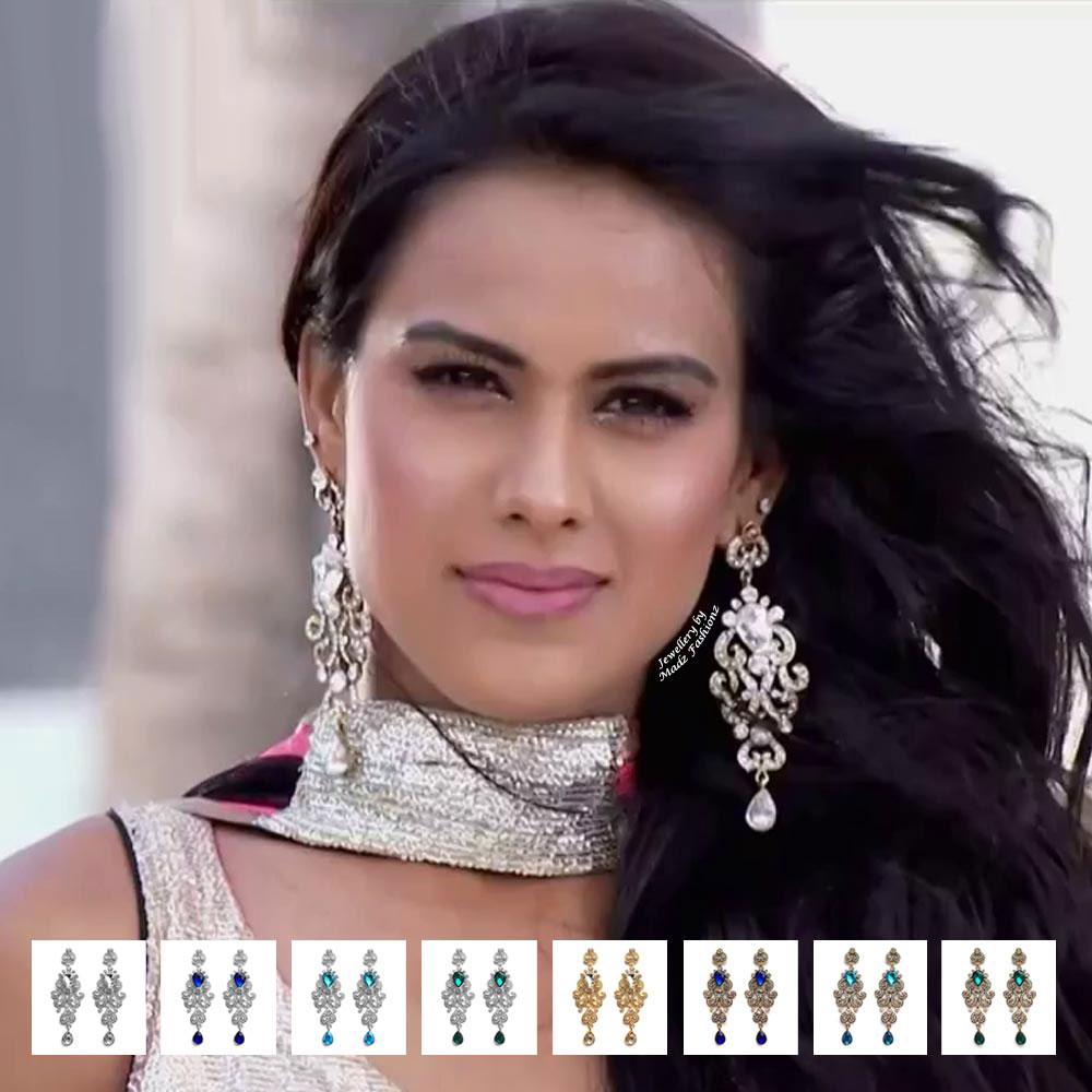 Madz Fashionz USA: Nia Sharma Inspired Diamante Earrings Jamai Raja Silver Gold White