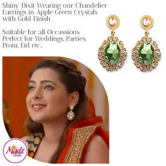 Madz Fashionz USA: Shiny Dixit Chandelier Earrings Zindagi Ki Mehek Gold Apple Green