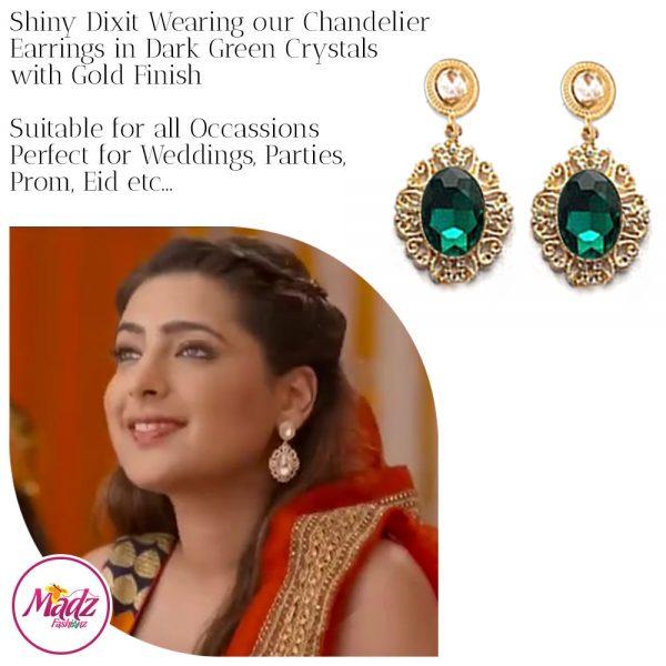 Madz Fashionz USA: Shiny Dixit Chandelier Earrings Zindagi Ki Mehek Gold Dark Green