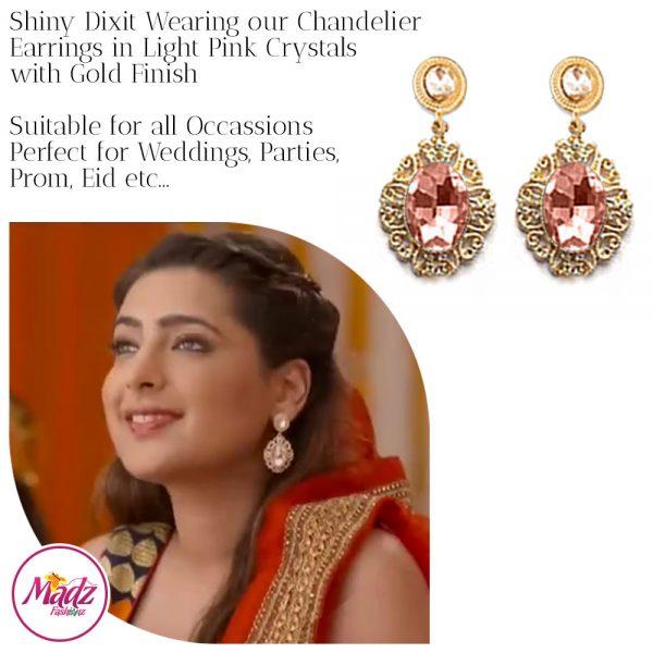 Madz Fashionz USA: Shiny Dixit Chandelier Earrings Zindagi Ki Mehek Gold Peach